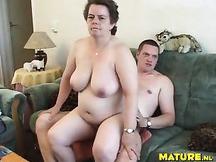 Hot MILF With Huge Tits Sucks Some Cock and Then Goes For a Ride Cowgirl Style