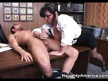 Indianna Jaymes sucks off rock hard dick in the office on the desk